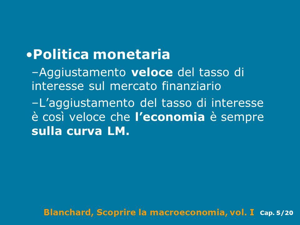 Politica monetaria Aggiustamento veloce del tasso di interesse sul mercato finanziario.