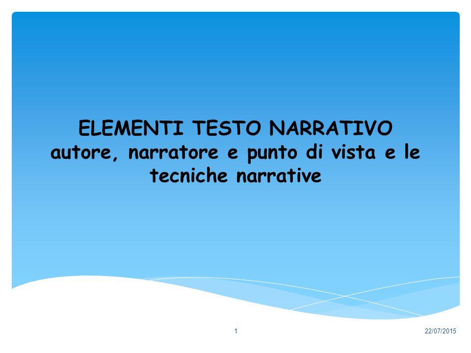 ELEMENTI TESTO NARRATIVO autore, narratore e punto di vista e le tecniche narrative