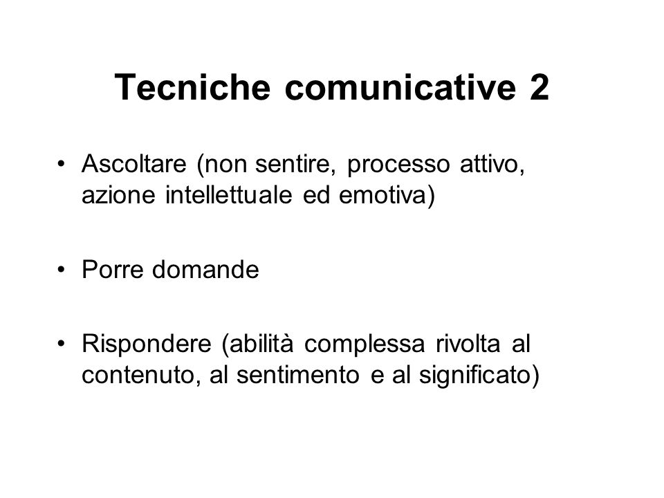 Tecniche comunicative 2