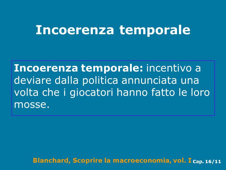 Incoerenza temporale Incoerenza temporale: incentivo a deviare dalla politica annunciata una volta che i giocatori hanno fatto le loro mosse.