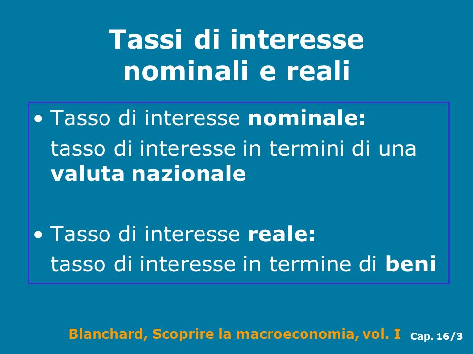 Tassi di interesse nominali e reali