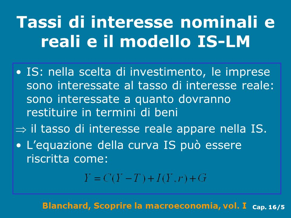Tassi di interesse nominali e reali e il modello IS-LM