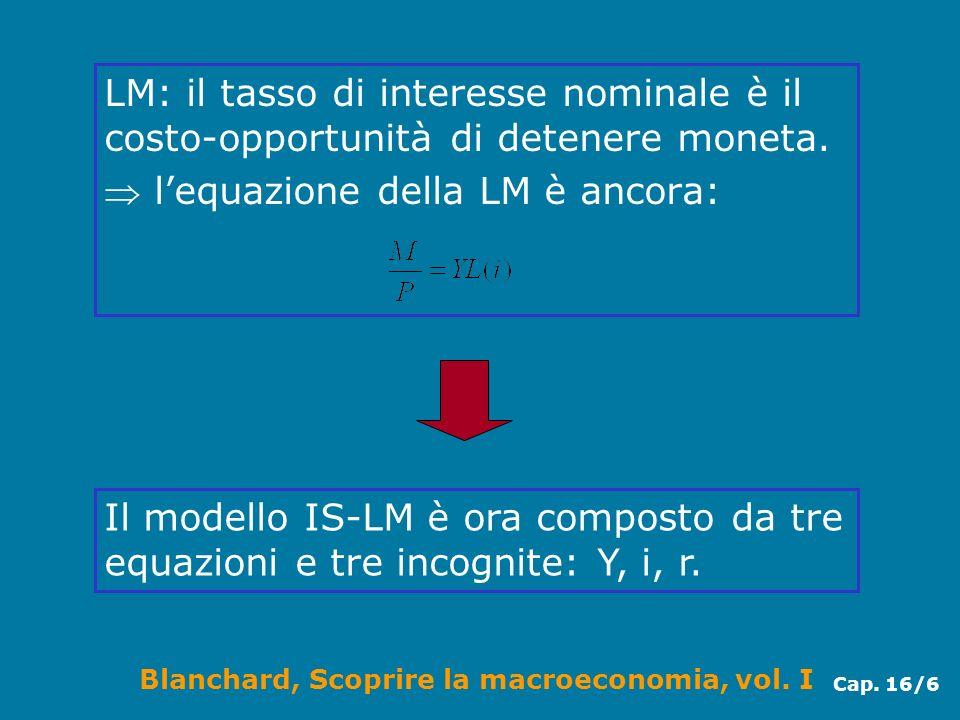 LM: il tasso di interesse nominale è il costo-opportunità di detenere moneta.