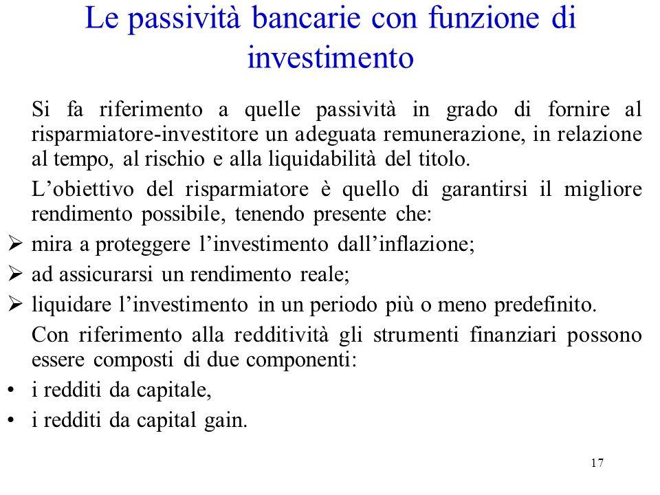 Le passività bancarie con funzione di investimento