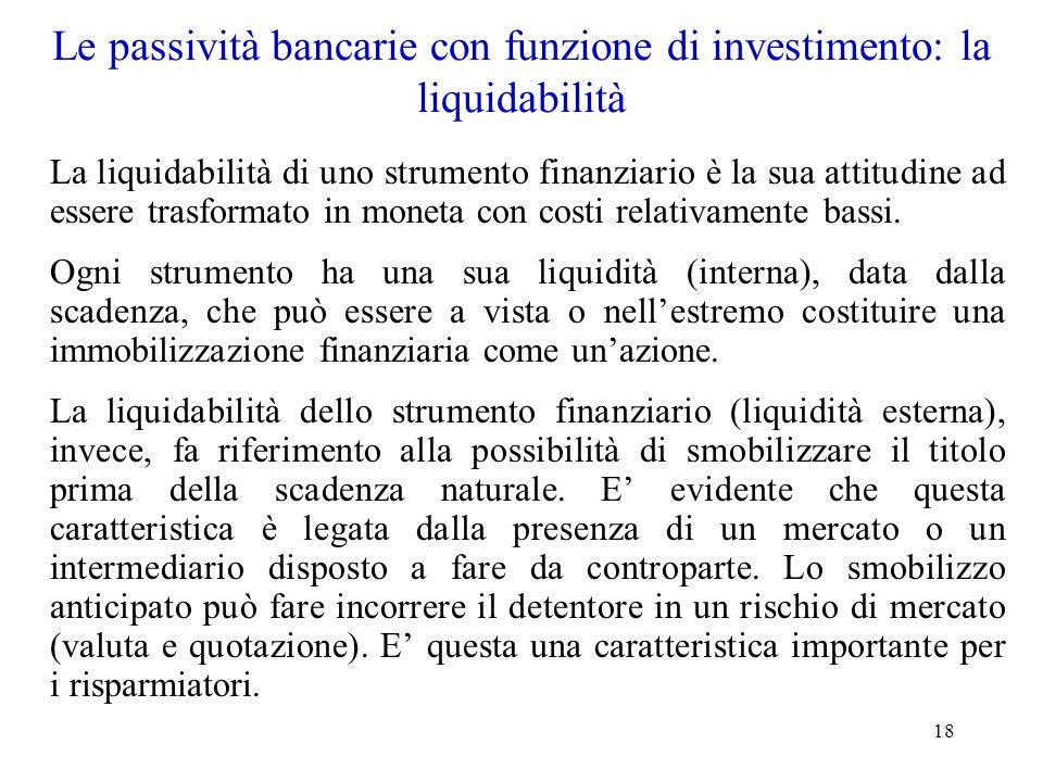 Le passività bancarie con funzione di investimento: la liquidabilità