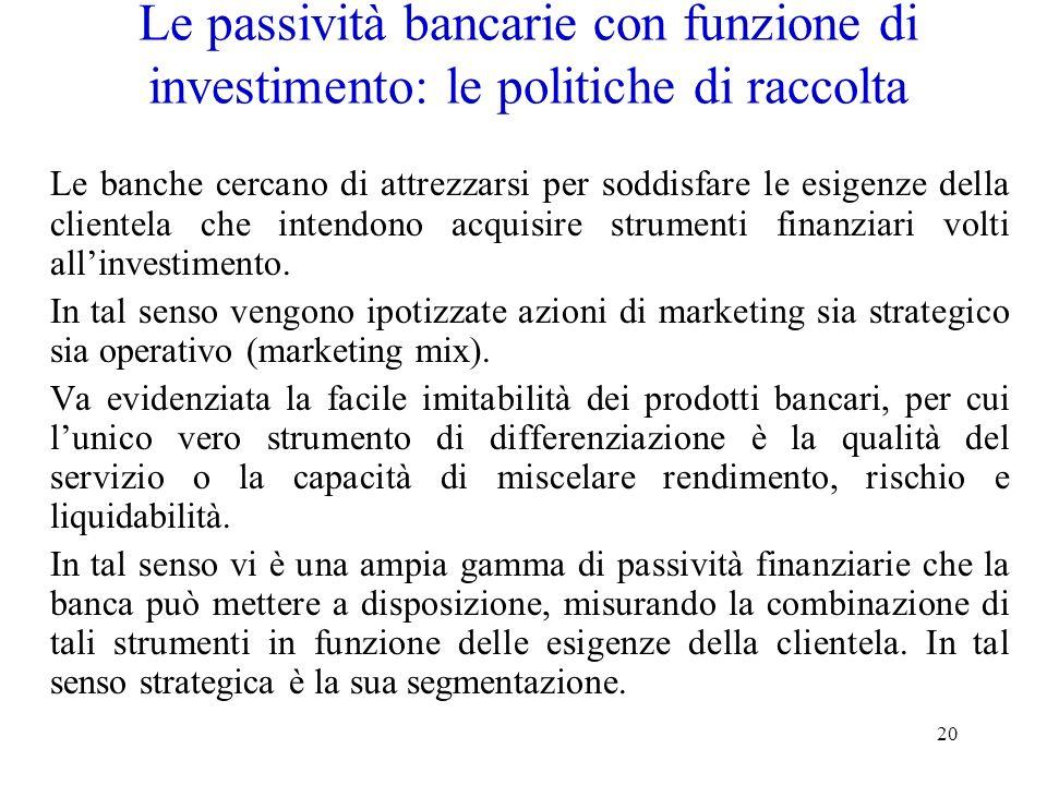 Le passività bancarie con funzione di investimento: le politiche di raccolta