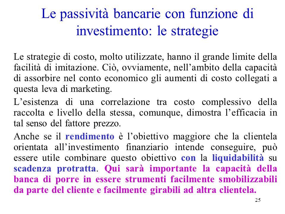 Le passività bancarie con funzione di investimento: le strategie
