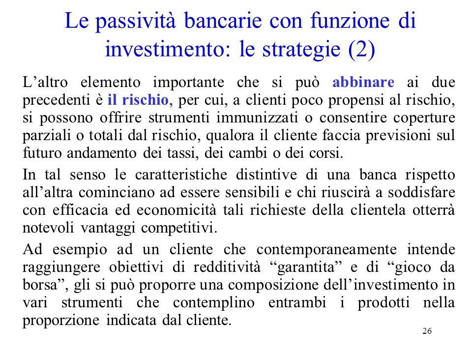 Le passività bancarie con funzione di investimento: le strategie (2)