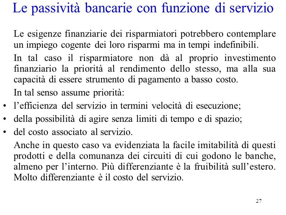 Le passività bancarie con funzione di servizio