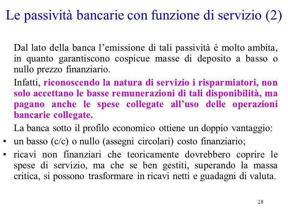 Le passività bancarie con funzione di servizio (2)