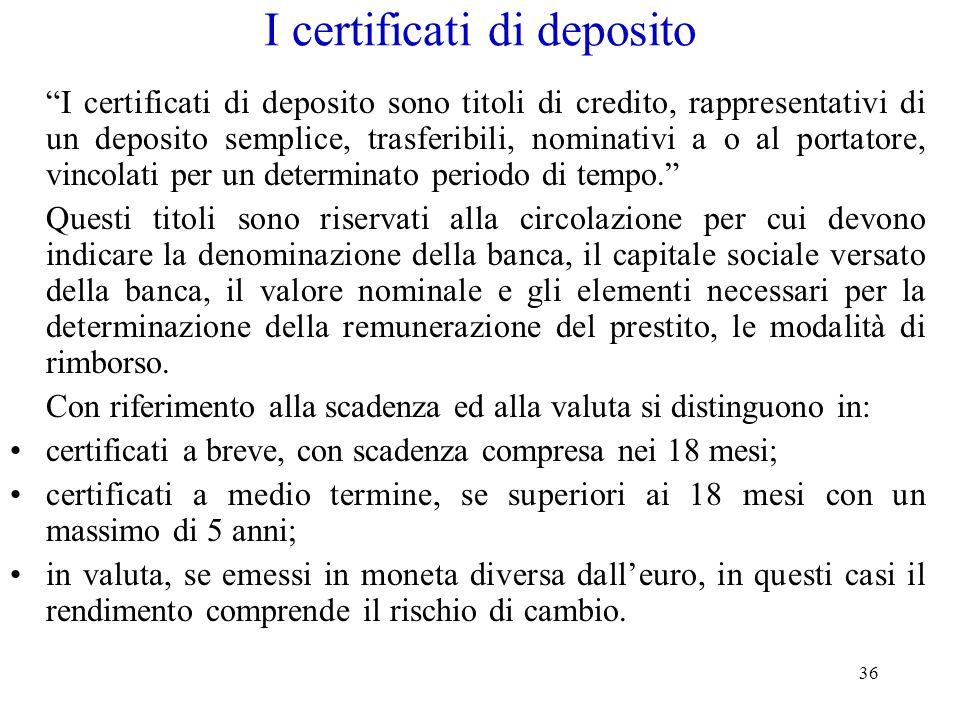I certificati di deposito