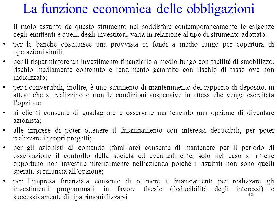 La funzione economica delle obbligazioni