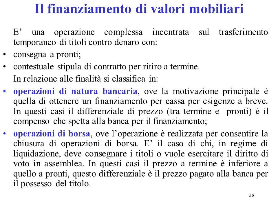 Il finanziamento di valori mobiliari