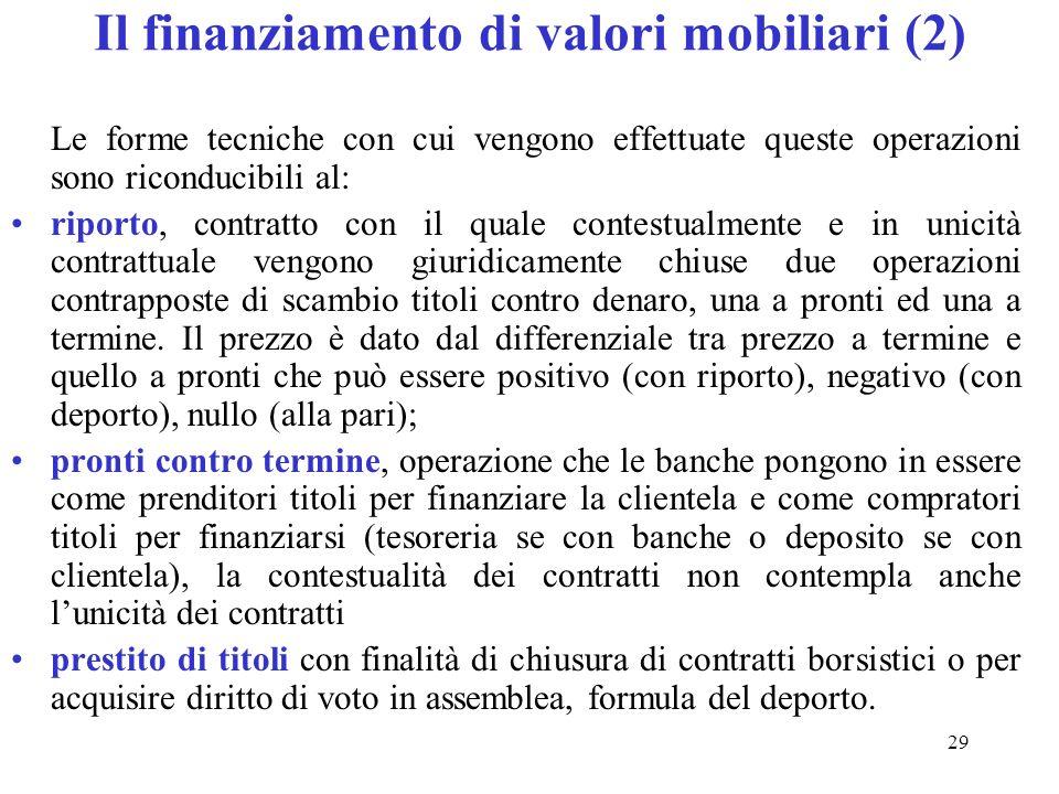 Il finanziamento di valori mobiliari (2)