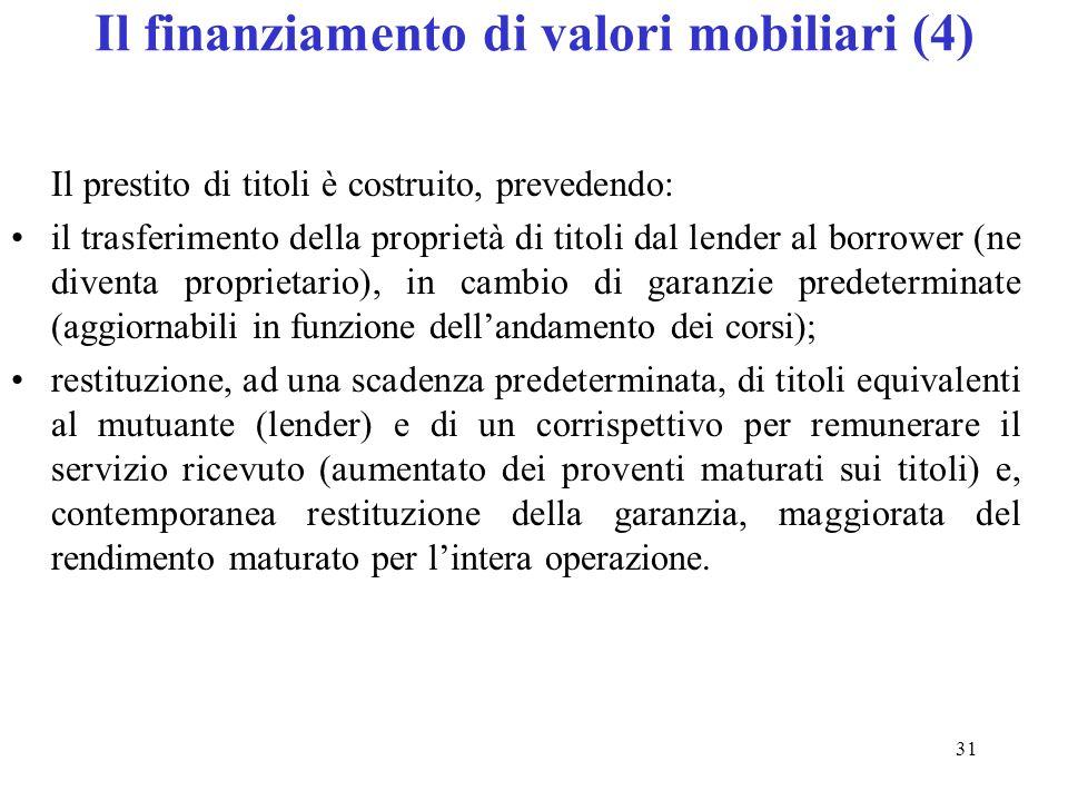 Il finanziamento di valori mobiliari (4)