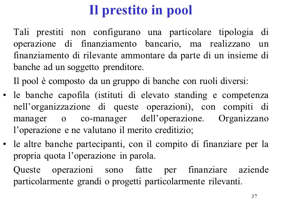 Il prestito in pool