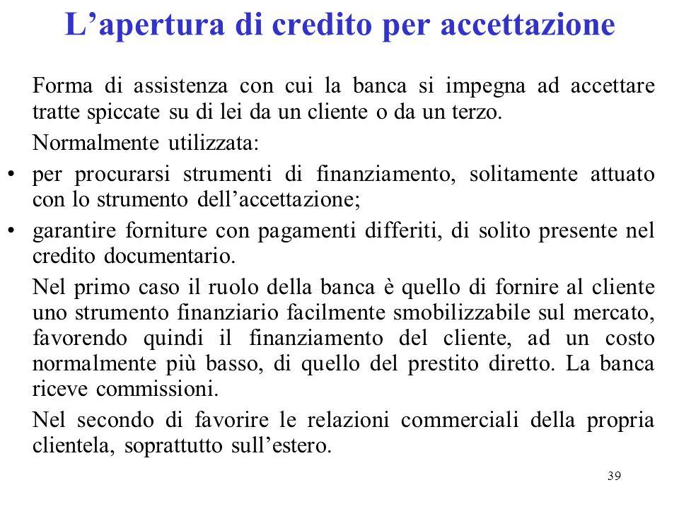 L'apertura di credito per accettazione