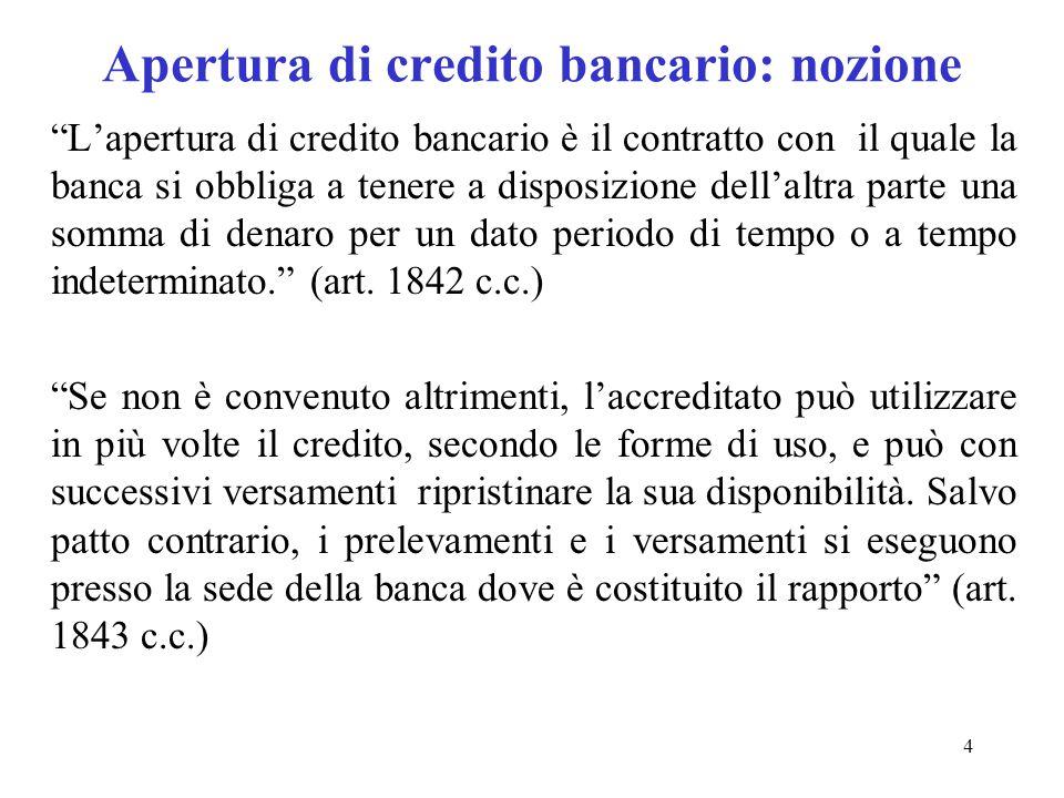 Apertura di credito bancario: nozione