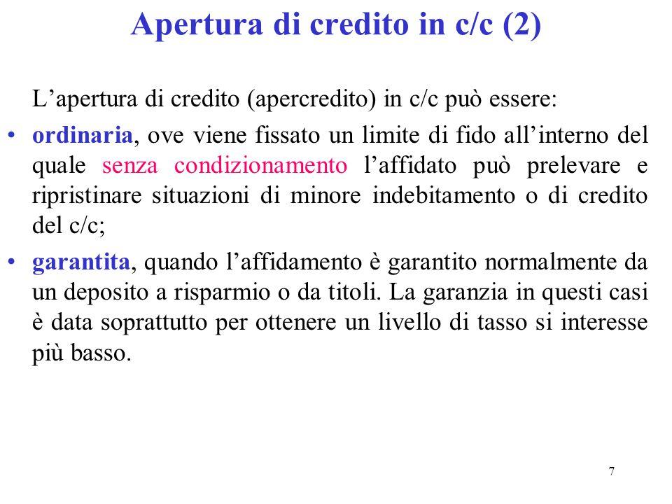 Apertura di credito in c/c (2)
