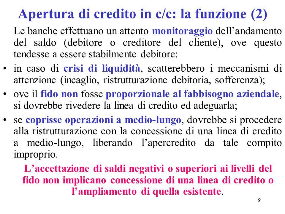 Apertura di credito in c/c: la funzione (2)