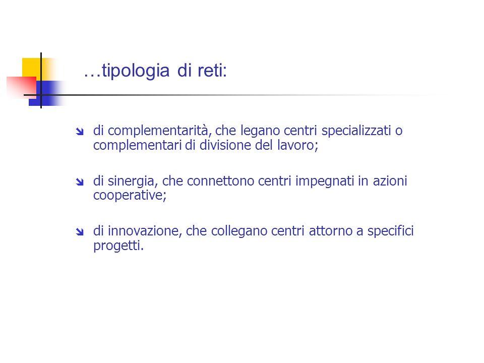 …tipologia di reti: di complementarità, che legano centri specializzati o complementari di divisione del lavoro;
