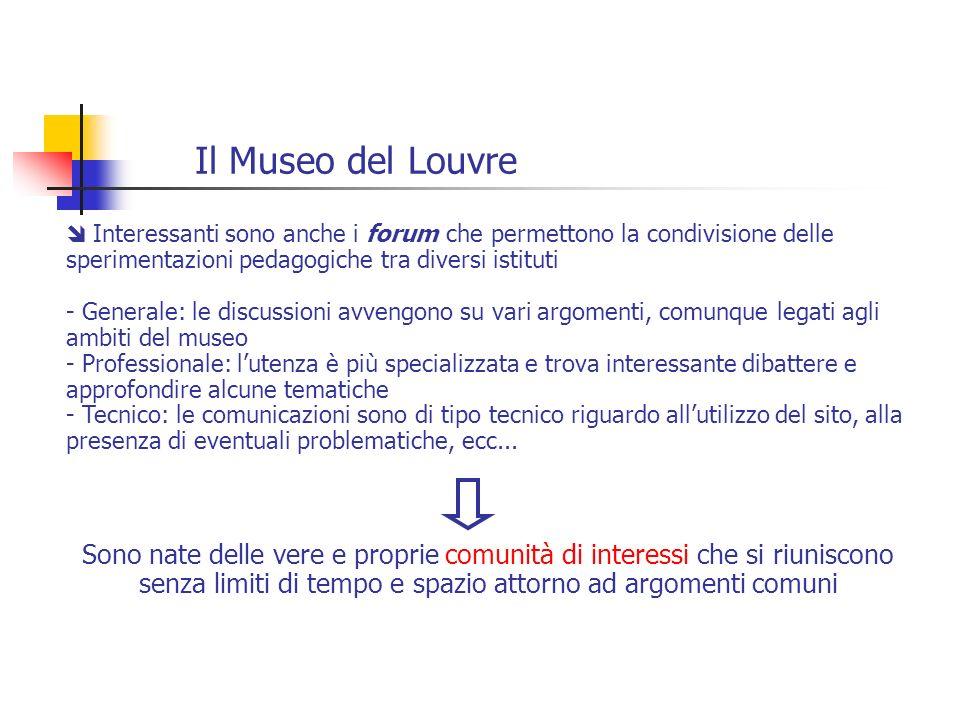 Il Museo del Louvre Interessanti sono anche i forum che permettono la condivisione delle sperimentazioni pedagogiche tra diversi istituti.