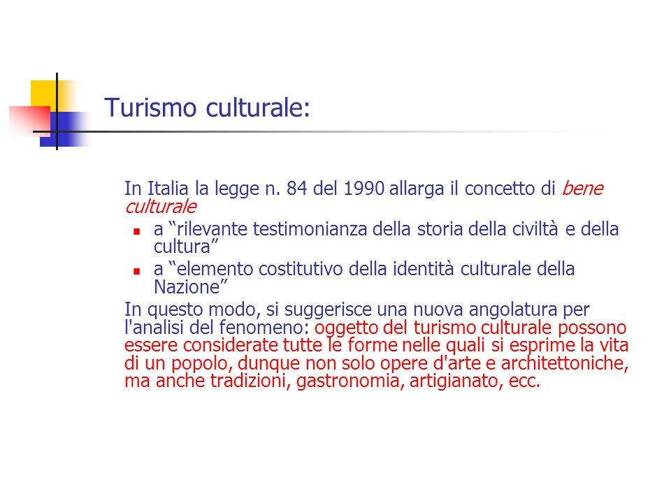 Turismo culturale: In Italia la legge n. 84 del 1990 allarga il concetto di bene culturale.