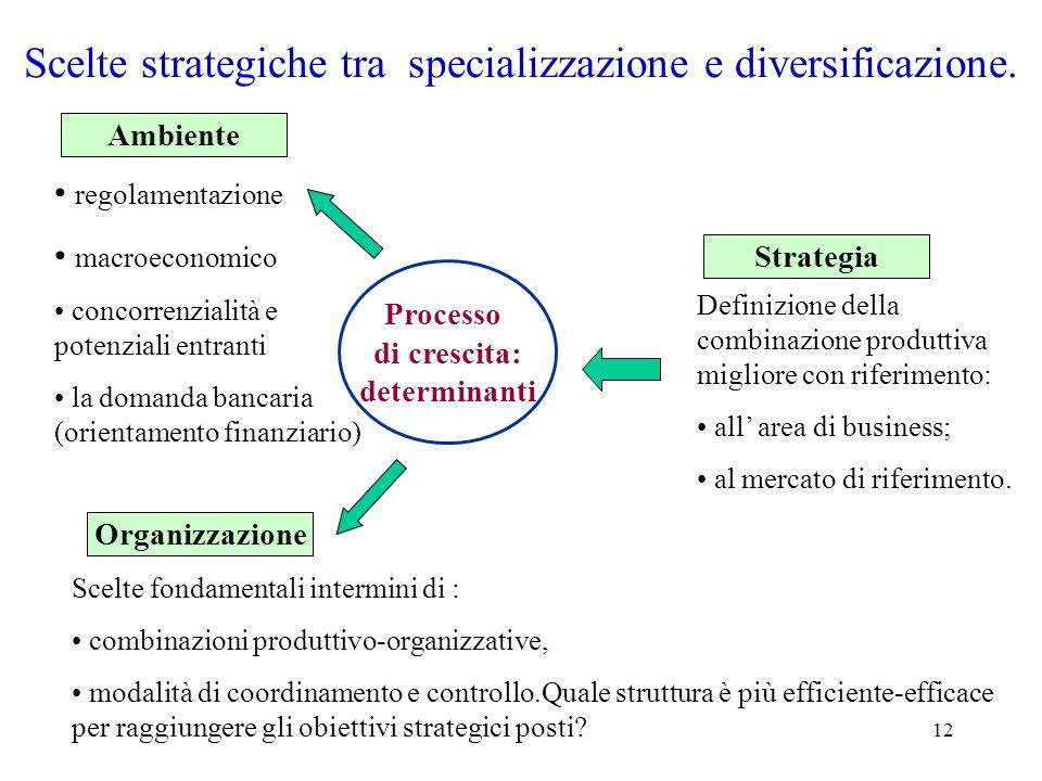 Scelte strategiche tra specializzazione e diversificazione.