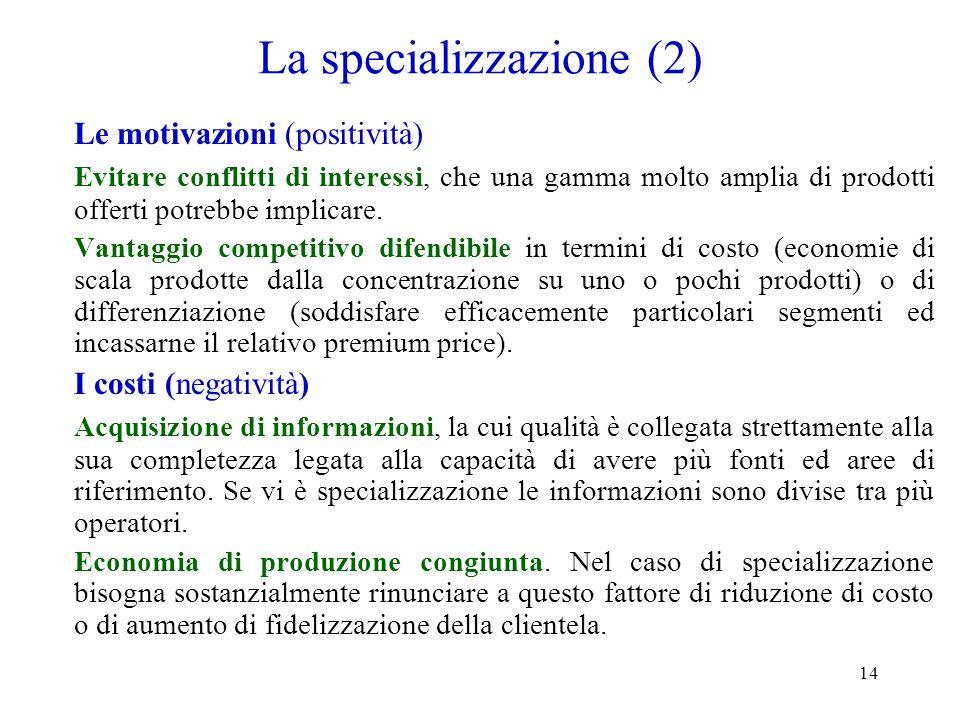 La specializzazione (2)