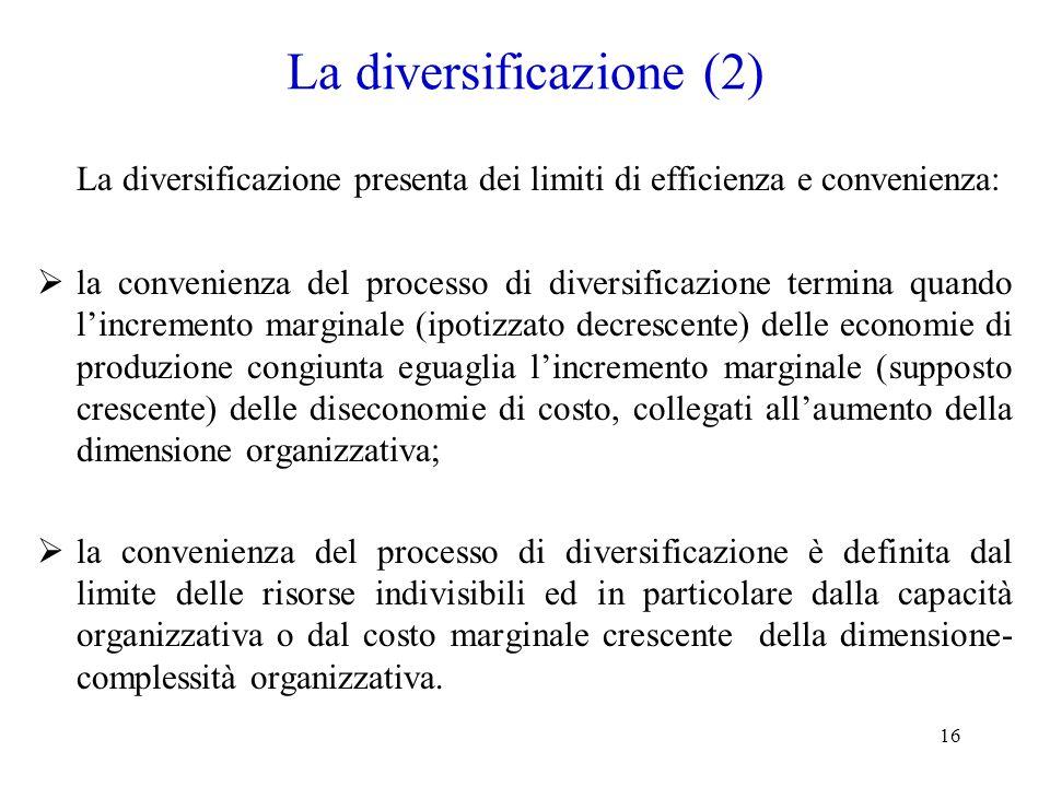 La diversificazione (2)