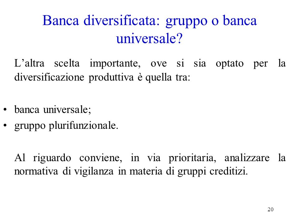 Banca diversificata: gruppo o banca universale