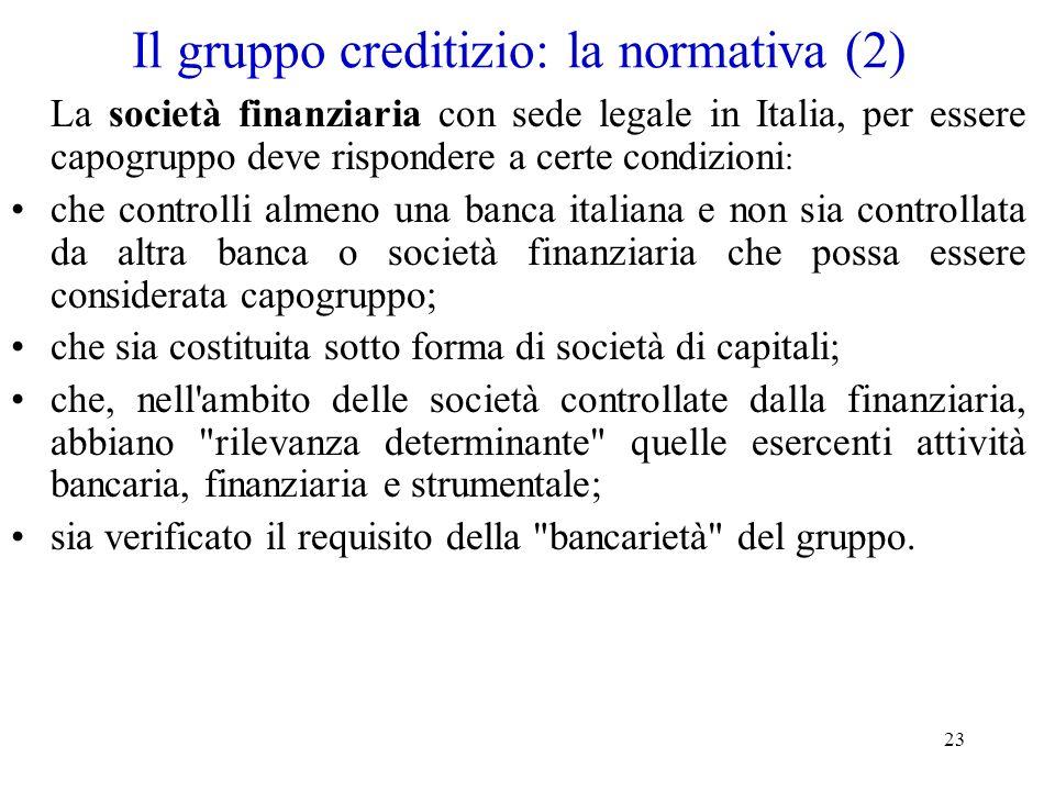 Il gruppo creditizio: la normativa (2)