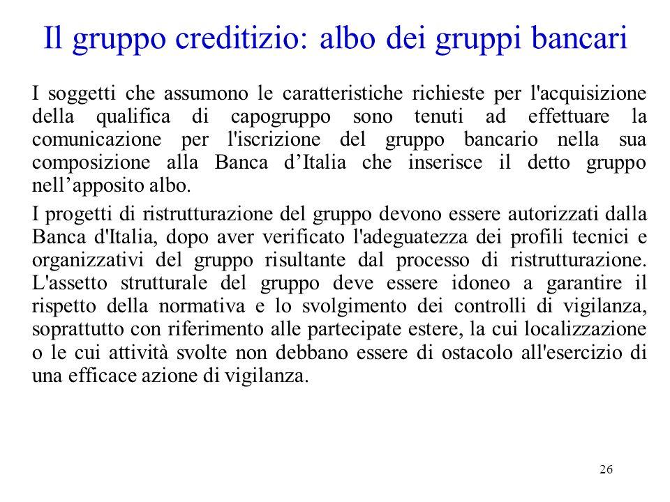 Il gruppo creditizio: albo dei gruppi bancari