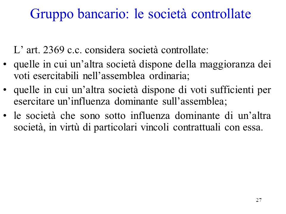 Gruppo bancario: le società controllate