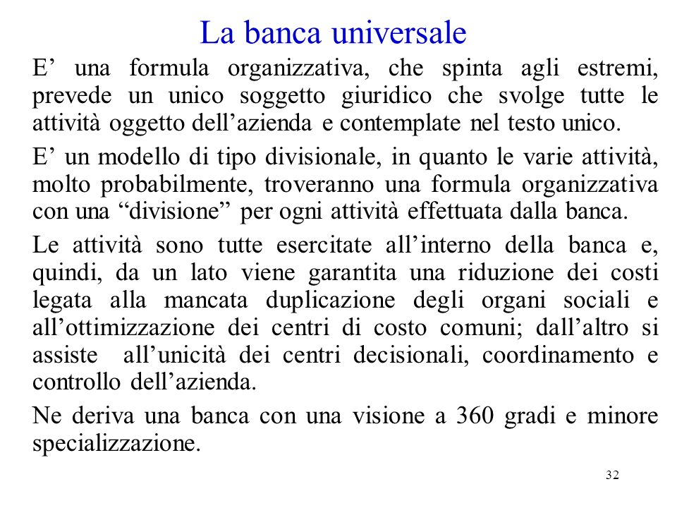 La banca universale