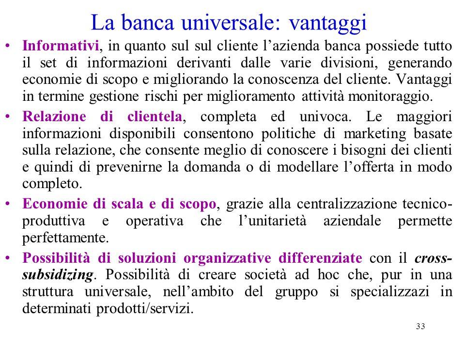 La banca universale: vantaggi