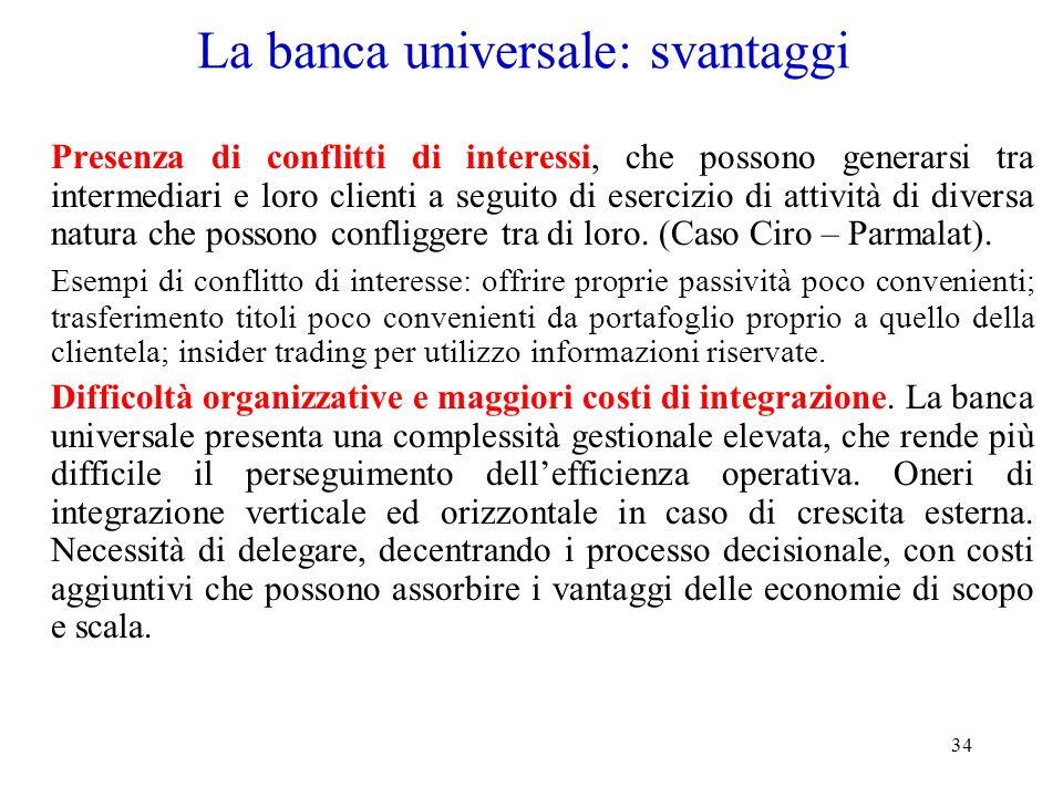La banca universale: svantaggi