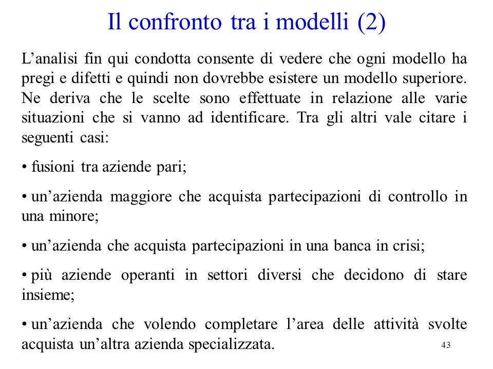 Il confronto tra i modelli (2)