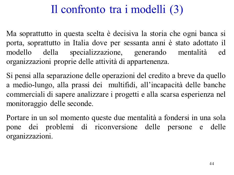Il confronto tra i modelli (3)