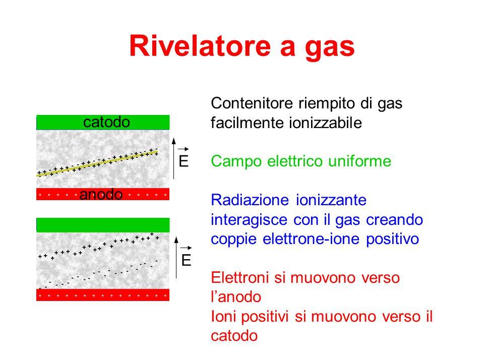 Rivelatore a gas Contenitore riempito di gas facilmente ionizzabile