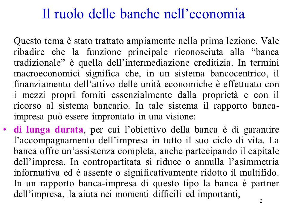 Il ruolo delle banche nell'economia