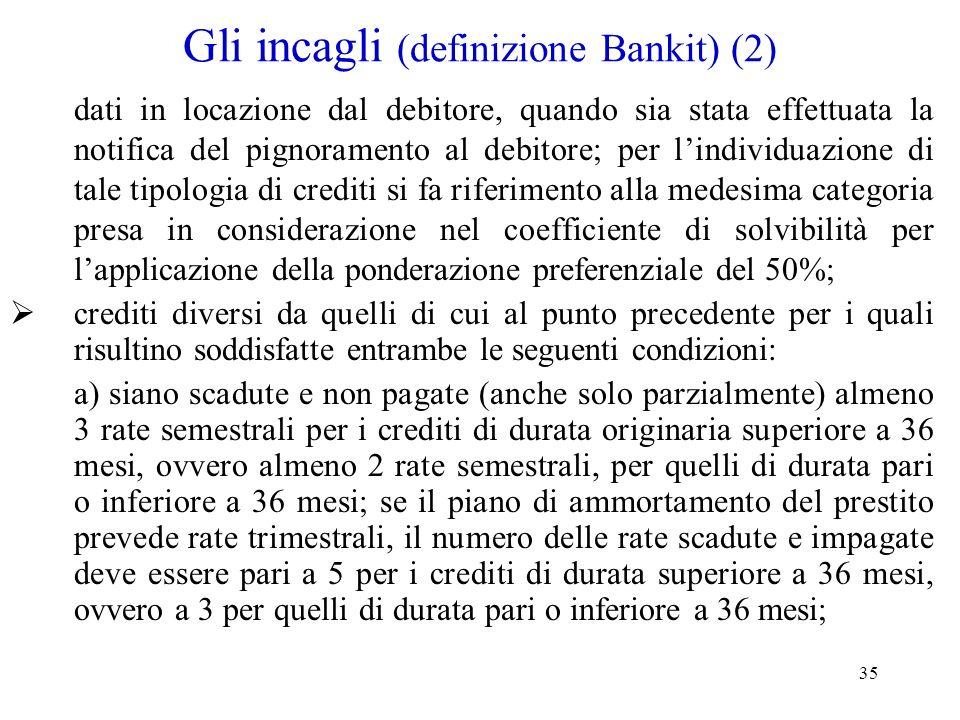 Gli incagli (definizione Bankit) (2)