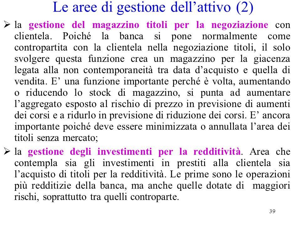 Le aree di gestione dell'attivo (2)