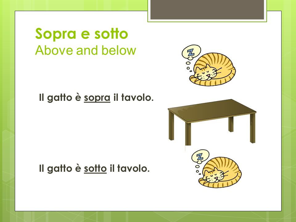 Sopra e sotto Above and below