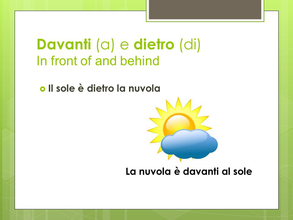 Davanti (a) e dietro (di) In front of and behind