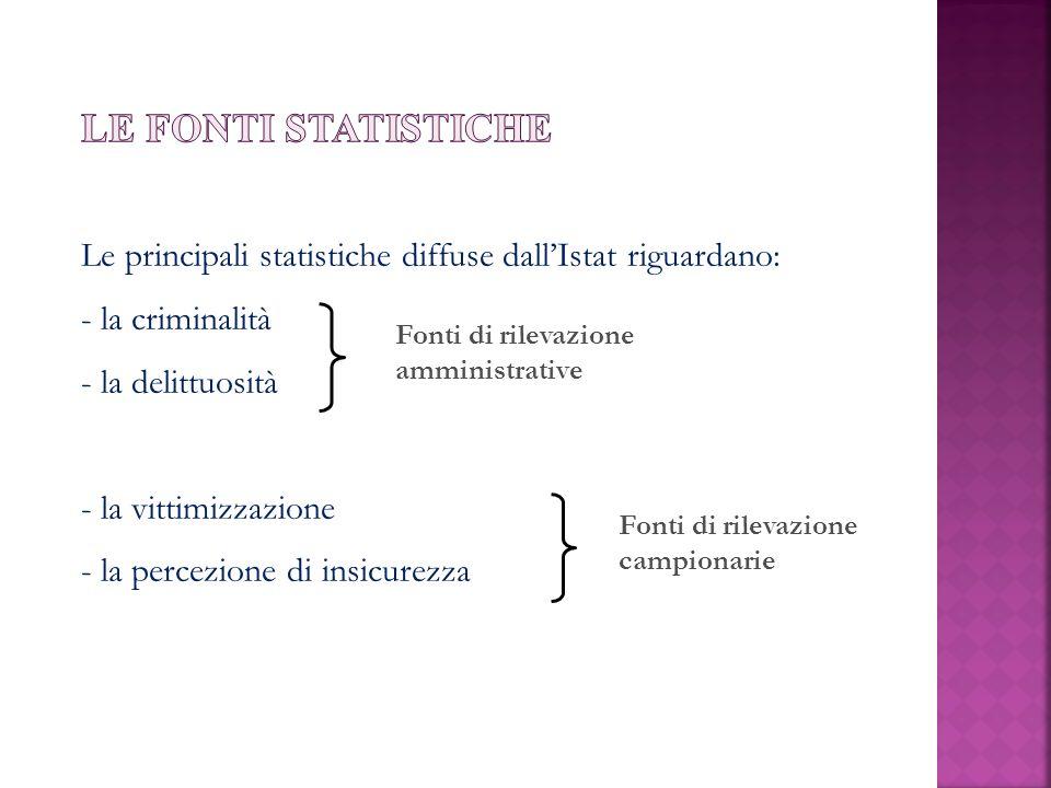 Le fonti statistiche Le principali statistiche diffuse dall'Istat riguardano: la criminalità. la delittuosità.
