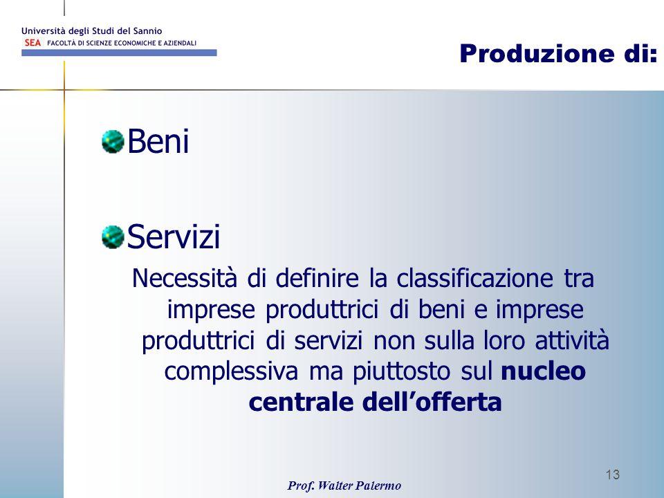 Beni Servizi Produzione di: