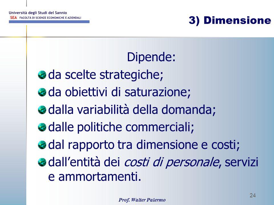 da scelte strategiche; da obiettivi di saturazione;