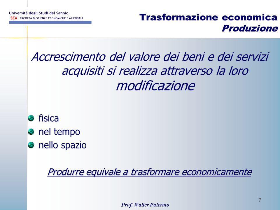 Trasformazione economica Produzione