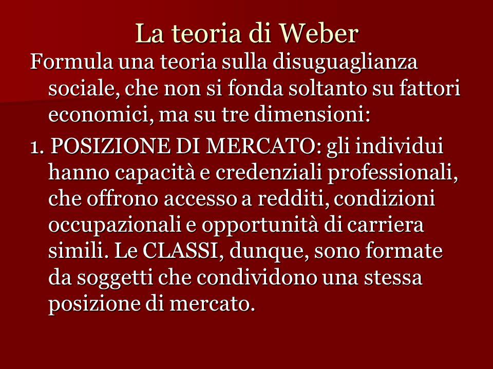 La teoria di Weber Formula una teoria sulla disuguaglianza sociale, che non si fonda soltanto su fattori economici, ma su tre dimensioni: